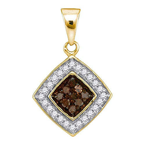 Jewel Tie Solid 10k Yellow Gold Round Chocolate Brown Diamond Square Pendant (1/4 Cttw.) ()