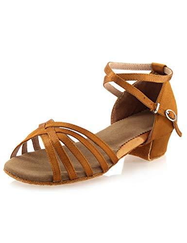Daydance Tan Latin Dance Shoes for Girls 1.5 Inches Low Heels Tango Salsa Ballroom Shoes