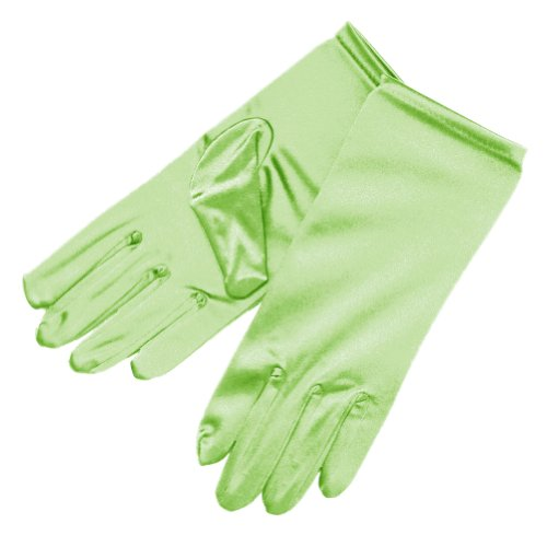 Lime Green Bridal Dresses - ZaZa Bridal Shiny Stretch Satin Dress Gloves Wrist Length 2BL-Lime Green