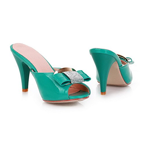 VogueZone009 Womens Open Peep Toe High Heel Stiletto PU Patent Leather Solid Slippers with Bowknot Green KYKkJ9ymJ