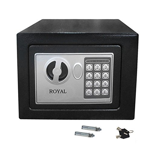Digital Electronic Steel Safe Box with Durable Power Coated Great Security for Money Jewelry and Valuables at Home Office Road | 3000-Time Operation life expectancy battery (6.7 x 9 x 6.7 Inches)