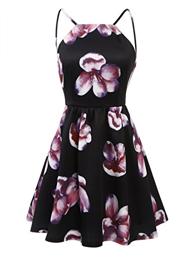 ACEVOG Women's Sexy Summer Spaghetti Strap Mini Beach Short Dress With Lining,Black,X-Large