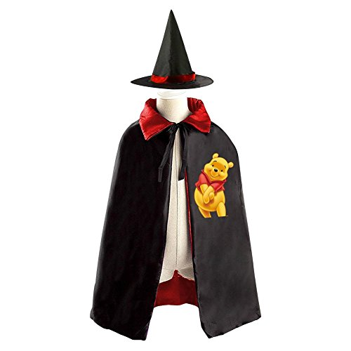 Cute Pooh Bear Kids Halloween Party Costume Cloak Wizard Witch Cape With Hat