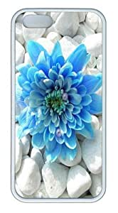 Blue flower TPU Silicone Case Cover for iPhone 5/5S White Thanksgiving Day gift
