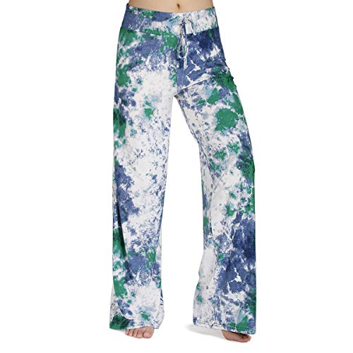 HIGHDAYS Pajama Pants for Women Floral Print Palazzo Pants Comfy Casual Lounge Pants with Wide Leg & Drawstring (XXL, Blue Graffito)
