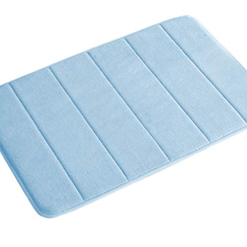 (Memory Foam Floor Mats Flannel Fleece Non-Slip Bath Mats with Super-Absorbent for Bathroom Soft Velvety Plush Floor Mat Shower Mats for Laundry Room (1 Pack-Sky Blue Striped Pattern))