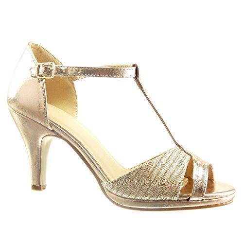 Angkorly - Chaussure Mode Escarpin Sandale salomés sexy femme lignes Talon haut bloc 8.5 CM - Champagne