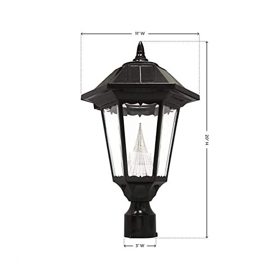 """Gama Sonic GS-99F-L Windsor Lamp Outdoor Solar Light Fixture, 3"""" Post-Fitter Mount, Black - SOLAR POWERED- This outdoor solar powered post light, with 12 Bright White LEDs and Hi-Low-Off settings, is powered completely by the sun- the internal lithium-ion battery pack charges when sunlight hits it's solar panel DECORATIVE OUTDOOR LIGHTING – Our LED solar post light is the perfect accessory for your front yard or backyard. It requires no electrical wiring, which eliminates any dangerous and unsightly cords. The solar outdoor post light is the perfect replacement for outdated electric and gas-powered outdoor lighting and adds a modern look for extra curbside aesthetic appeal AUTOMATIC DUSK TO DAWN LIGHTING – This Windsor solar post light is designed to provide dusk-to-dawn performance when its battery gets fully charged during the day. The integrated photocell sensor can detect light and will automatically turn on at dusk and off once the sun comes up - patio, outdoor-lights, outdoor-decor - 41ID4jMLs1L. SS570  -"""