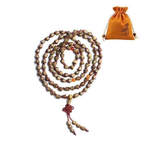 FIVE BEE Unisex Natural Handmade Nepal Small Admiralty Bodhi Seed Mala 108 Wrap Bracelet Necklace with Linen Jewelry Bag, Tibetan Buddhist Bodhi Prayer Beads for Yoga, Meditation and Compassion