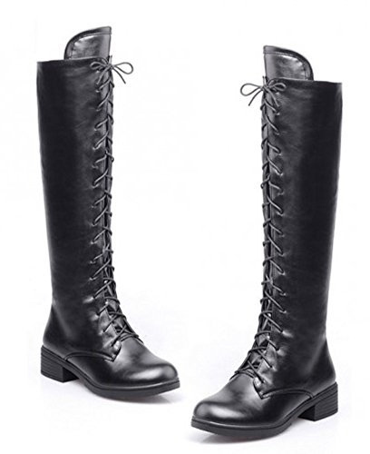 Aisun Women's Cool Cosplay Lace Up Chunky Flat Heels Knee High Boots - stylishcombatboots.com
