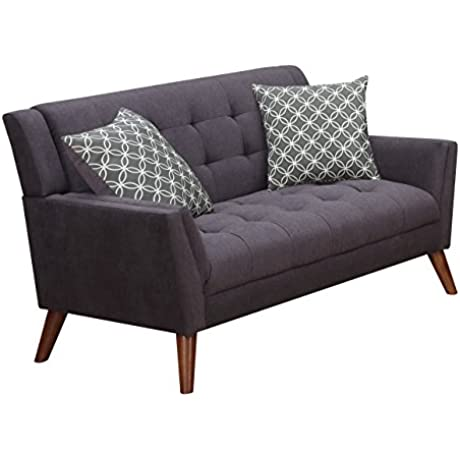 Furniture World Mid Century Love Seat Charcoal