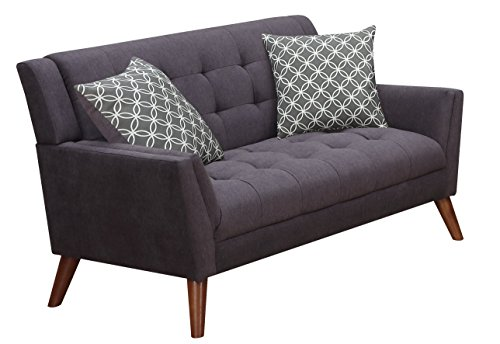 Furniture World Mid Century Love Seat, Charcoal