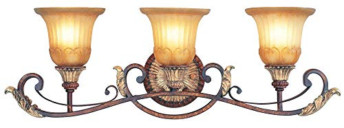 Livex Lighting 8553-63 Villa Verona - Three Light Bath Bar, Verona Bronze Finish with Rustic Art Glass