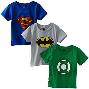 Fruit of The Loom Little Boys'  Funpals Justice League Crew Shirt , Assorted, 8(Pack of 3)