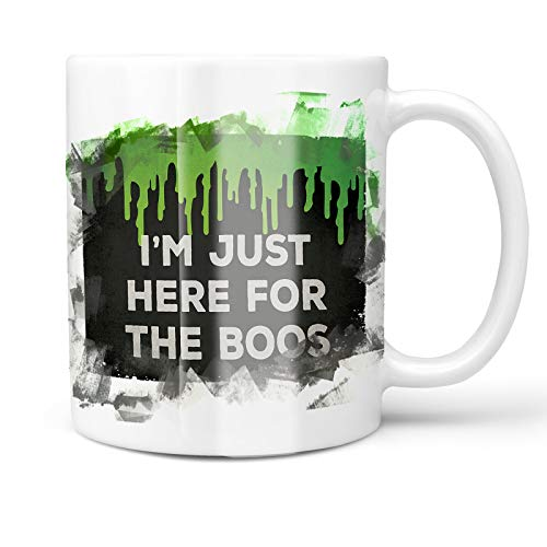 Neonblond 11oz Coffee Mug I'm Just Here For the Boos Halloween Green Slime with your Custom Name]()