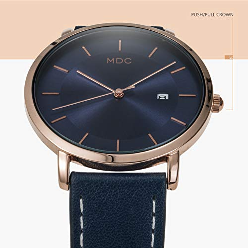 MDC Mens Minimalist Classic Analog Watch Blue Leather Ultra Thin Wrist Watches for Men with Date Dress Business Casual by MDC (Image #3)