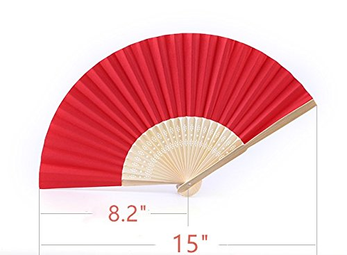CHU KE Bamboo Folding Fan Handheld Fans Paper Folded Fan for Wedding Party and Home Decoration (Red) (50packs)