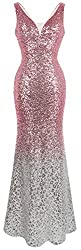 Women's V Neck Sequin Evening Dress