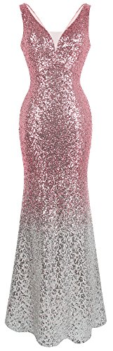 (Angel-fashions Women's Flapper V Neck Sparkle Sequin Gatsby 20s Evening Gowns Medium Pink Silver)