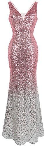 Angel-fashions Women's V Neck Glitter Sequin Gatsby 20s Flapper Evening Dress (S, Pink Silver) ()