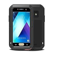 Samsung Galaxy A5 2017 case,Feitenn Extreme Hybrid Armor Alloy Aluminum Metal Bumper Soft Rubber Gorilla Glass Military Heavy Duty Shockproof Hard Case For Samsung A5 2017(Black)
