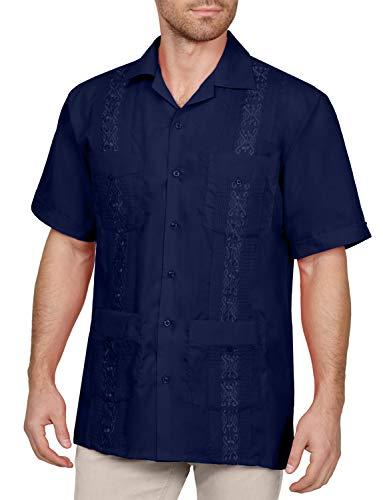 NE PEOPLE Men's Short Sleeve Cuban Guayabera Button Down Shirts Top XS-4XL