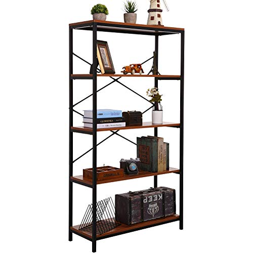 PaPafix Tall Bookcase, Open Bookshelf Modern Wide Book Shelf Wood Metal Industrial Bookcase Furniture Shelving Unit Storage 4 Tier Bookshelf