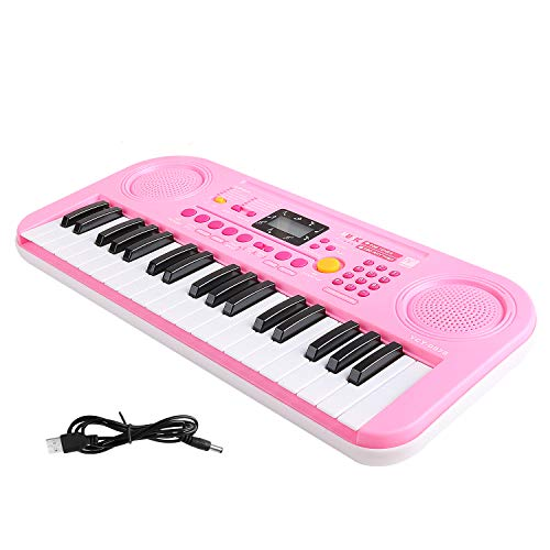 M SANMERSEN Kids Piano, 37 Keys Multifunction Beginning Electronic Keyboard Piano with LCD Display Screen Double Speakers Musial Instrument for Kids Toy for Girls Boys -