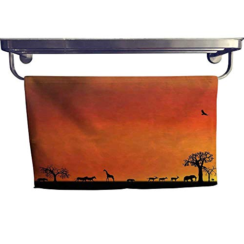 Decorative towels Africa,Panorama of Safari Animals Gulls Reflections in Background at Sunset Scenery,Burnt Orange Black Bathroom hand towels W 24