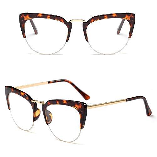 Glasses Ladies Fashion Metal Street Shot Glasses, Decorate Plain Glasses, Fashion Accessories (Color : Leopard/Clear)