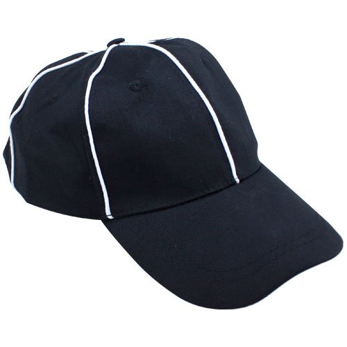 Official Black with White Stripes Referee Hat, Umpire Cap by Crown Sporting Goods