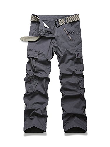 Men's Casual Military Pants, Cotton Camo Tactical Wild Combat Cargo Trousers with 8 Pockets Grey Tag 33-US 32