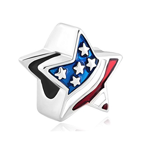 Usa Flag Charm - LovelyCharms American Flag Star Charm Beads For Bracelets
