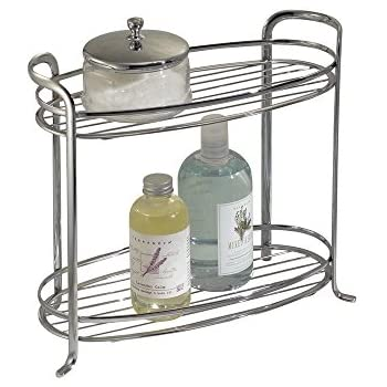 Mdesign free standing bathroom storage shelves for towels soap candles tissues for Free standing shelves for bathroom
