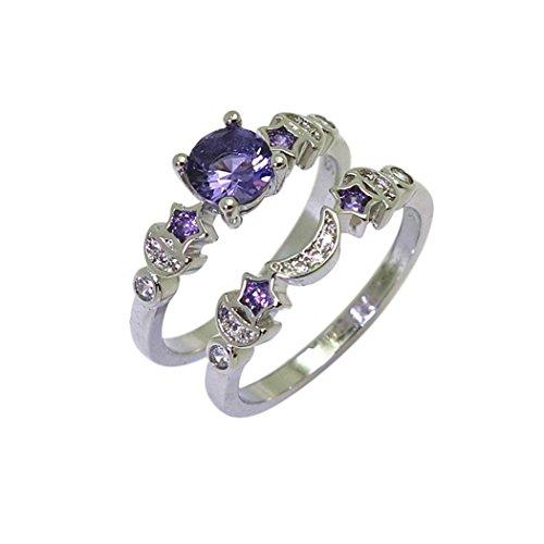 Hot!Star Moon Pattern Zircon Couples Eternity Engagement Promise Ring by Kimloog (7, Purple)