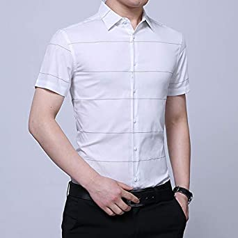 IYFBXl Summer New Mens Short-Sleeved Slim Cotton Shirt Casual Stripes Non-Iron Shirt