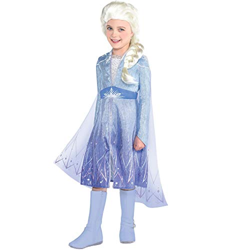 Party City Elsa Travel Costume for Girls, Frozen 2, Medium, Includes Dress