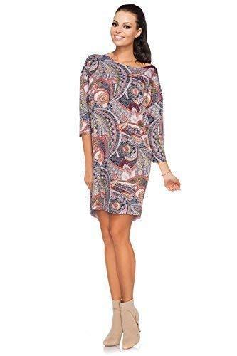 FUTURO FASHION para Mujer Vestido Mini 3/4 Mango Cuello Barco Diseño Paisley surdimensionné Lactancia