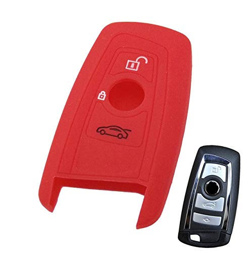 Key Rings FIT for BMW 1 2 3 5 7 Series X1 X3 X4 X5 X6 E46 E53 F30 F31 F10 F20 F30 GT Silicone 3 4 Button Key Remote Cover FOB Shell CASE - (Color Name: Red) (E46 Type Bmw)