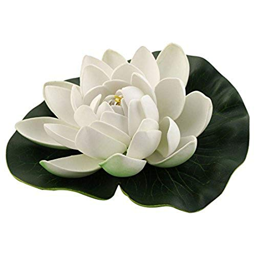 MARJON FlowersFoam Aquarium Fish Tank Artificial Floating Lotus Flower Decor Ornament Green White