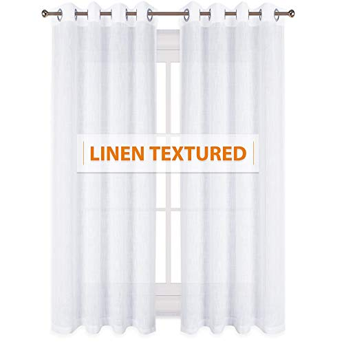 (RYB HOME Linen Wave Pattern Sheer Drapes for Large Windows Decoration, Natural Light Flirt & Air Through Privacy Window Curtains Drapes for Patio/Sliding Door, White, W 52