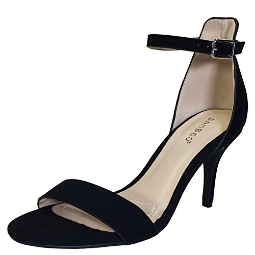 Ankle Mid Strap Single Black Women's with Nubuck Bamboo Heel Pu Sandal Band qCg70xwR