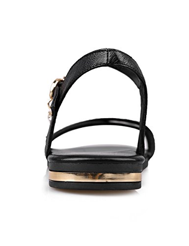 Noir Non Plat Bœuf Couleur Cuir VogueZone009 de Sandales Unie Femme Boucle à Talon 0tSnPq7