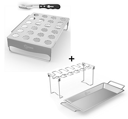 Cave Tools Jalapeno Roaster & Pepper Corer + Chicken Wing & Leg Rack Grill Smoker Oven - Stainless Steel Vertical Stand & Drip Pan Cooking Vegetables in Juices - Dishwasher Safe