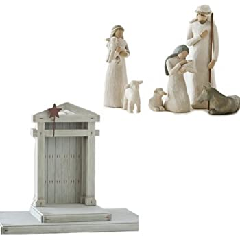 Willow Tree Nativity Set 7 piece: Includes 6 figurines and Creche