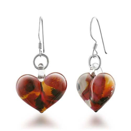925 Sterling Silver Hand Blown Venetian Murano Glass Wild Flower Heart Dangle Earrings