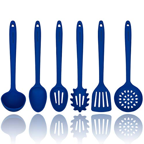 (Blue Silicone Cooking Utensils Set - Sturdy Steel Inner Core - Spatula, Mixing & Slotted Spoon, Ladle, Pasta Server, Drainer - Heat Resistant Kitchen Tools - Bonus Recipe)