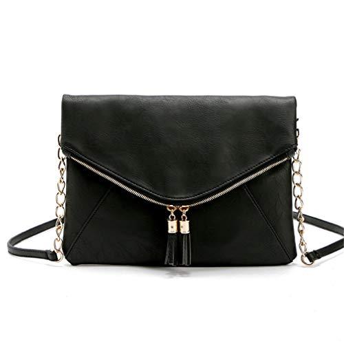 Messenger Tassel Black 28x20cm Bolsos Body Bag Cross Hombro de Brown wwqrvTxF