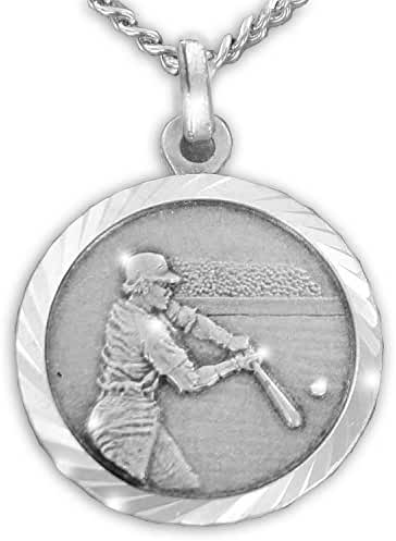 Sterling Silver Sports Medal with Saint Christopher Back, 3/4 Inch