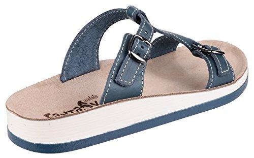Fantasy Ladies Arillas Leather Metal Buckle Slide Sandal Brown Blue